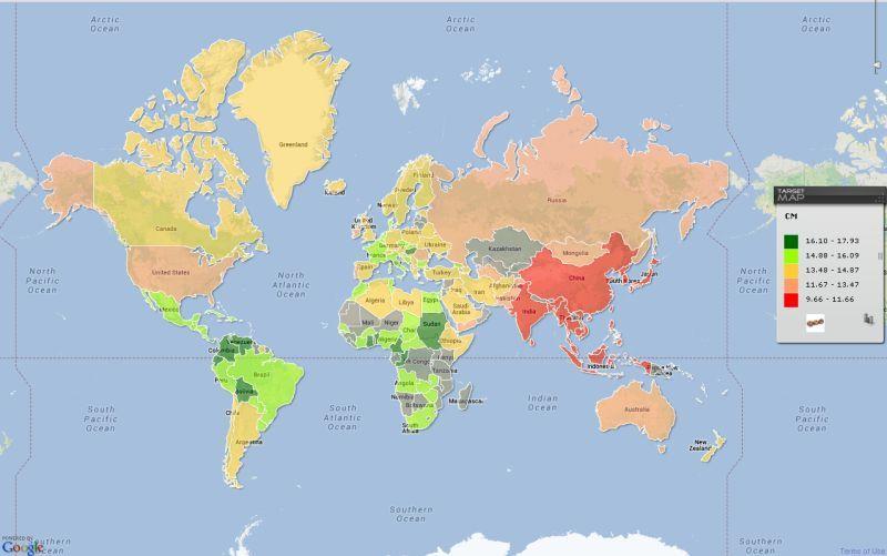 dimensiunile penisului pe hartă